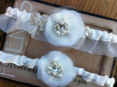 Princess Garter Set Bridal Heirloom Ivory  by CherryBlosomBoutique, $48.95