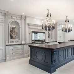 Stunning Dream kitchen by Clive Christian with custom cabinetry. Notice the double formal chandeliers! Tag someone who would love this set up. Modern French Country, French Country Kitchens, French Country Decorating, Country Kitchen Designs, Rustic Kitchen, Kitchen Decor, Elegant Kitchens, Luxury Kitchens, Luxury Kitchen Design