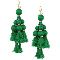 Kate Spade New York Pretty Poms Tassel Statement Earrings (Green)... ($98) ❤ liked on Polyvore featuring jewelry, earrings, statement earrings, earring jewelry, tassle earrings, french hook earrings and kate spade jewelry