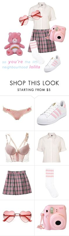 """""""Pink Nymphet"""" by techtonic ❤ liked on Polyvore featuring Miss Selfridge, adidas, H&M, Poplin, Fujifilm, lolita, daddy and nymphet"""