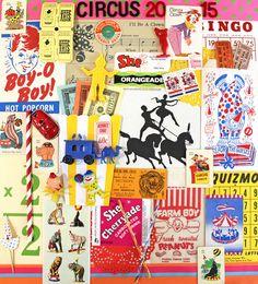 Vintage Circus*Circus Inspiration Kit*Circus 2015 Paper Ephemera and Plastic Circus Novelties by ScrappyBird on Etsy