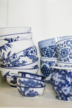 Traditional blue and white bowls and mugs.