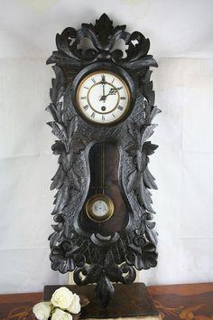 Rare ebony black wood carved wall RA German clock regulator vienna gout
