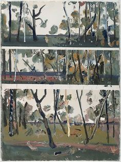 Fred Williams (Australia, England Title Saplings, Wedderburn Year Media category Drawing Materials used gouache on ivory Arches paper Dimensions x sheet (irreg. Australian Painting, Australian Artists, Abstract Landscape, Landscape Paintings, Abstract Art, Landscapes, Fred Williams, Arches Paper, Triptych