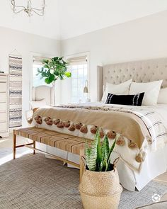 color scheme // boho bedroom design // cream tufted headboard // woven b. color scheme // boho bedroom design // cream tufted headboard // woven b. Untitled Master Bedroom Inspiration With Fall Colors White Bedroom, Modern Bedroom, Contemporary Bedroom, Boho Chic Bedroom, Bedroom Neutral, Master Bedrooms, Minimalist Bedroom, Boho Chic Bedding, Bungalow Bedroom