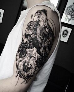 Tattoo Ideas On Arm Of Wolf Tattoo With Skull With Blackwork Tattoo Style