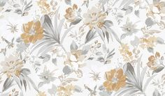Rosslyn (NCW4150-05) - Nina Campbell Wallpapers - A bold, vibrant informal array of painterly florals.  Shown in the beige, white and grey with warm mustard colourway. Other colourways are available.  Please request sample for true colour match.