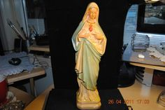 """Virgin Mary Our lady Of Grace Painted Old Statue Figure 13"""" inch .- 30 buckeroos"""