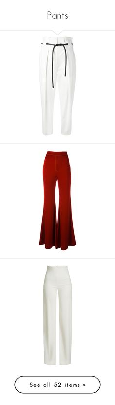 """""""Pants"""" by vlada4798 on Polyvore featuring pants, white, tapered trousers, pleated pants, white drawstring pants, tapered pants, pleated trousers, red, lightweight pants и flared pants"""