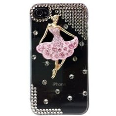 Yupy 3d Clear Transparent Pink Dancing Girl Luxury Bling Rhinestones Crystals Snap on Back Cover Case for At Verizon Sprint Iphone 4 4g 4s
