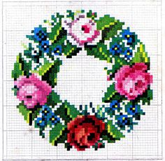 Antique Embroidery Pattern - Cross Stitch Wreath & Frame - The Graphics Fairy