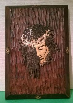 Striking wooden plaque Head of Christ Religious Found in France Religion Ref 998 Catholic Religion, Wooden Plaques, Founded In, Christianity, Centre, France, Ebay, Things To Sell, French