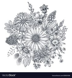 Floral composition bouquet with hand drawn vector image on VectorStock Adult Coloring Book Pages, Printable Adult Coloring Pages, Coloring Books, Flor Tattoo, Flower Art Images, Flower Sleeve, Graffiti Painting, Hand Drawn Flowers, Hand Embroidery Patterns