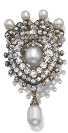 Pearl and diamond brooch/pendant, circa 1880.