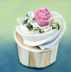 rose cupcake pastel painting 7 in X 7 in -- Ria Hills