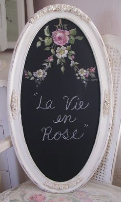 picture frame with chalkboard inside and roses painted on the board, great gift!