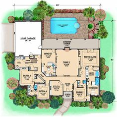 European Style House Plans - 3681 Square Foot Home , 1 Story, 4 Bedroom and 3 Bath, 3 Garage Stalls by Monster House Plans - Plan 63-410