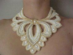 Купить Колье Восточная жемчужина - белый, Колье с жемчугом, свадебное украшение, свадебное колье