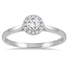 Marquee Jewels 14k White Gold 1/3ct TDW Diamond Halo Promise Ring (£295) ❤ liked on Polyvore featuring jewelry, rings, white, band engagement rings, 14k ring, white ring, white gold rings and 14k engagement ring