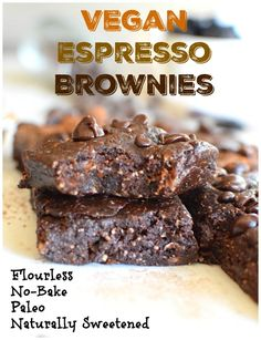 Soft, perfectly sweet and full of chocolate. These flourless brownies are vegan, paleo and naturally sweetened. They're quick and easy to make and are sure to satisfy your sweet tooth. Delicious Vegan Recipes, Vegan Sweets, Healthy Dessert Recipes, Vegan Desserts, Whole Food Recipes, Healthy Food, Espresso Brownies, Candida Diet Recipes, Gluten Free Brownies