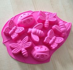 8-Butterfly Bee Dragonfly  Cake Mold Soap Mold Flexible Silicone Mold For Handmade Soap Candle Candy Chocolate Cake Fimo Resin Crafts