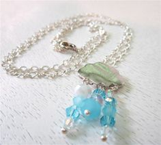 Partly cloudy silver and crystal raindrop necklace