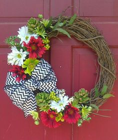 Making this for red white and Blue holidays. . Sub blue flowers for the green ones and its going to be so cute!