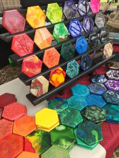 Coaster display at Art Squared Arts Market on the Square in San Marcos until Diy Resin Art, Diy Resin Crafts, Metal Art Projects, Mosaic Projects, Art And Craft Shows, Resin Furniture, Tile Crafts, Acrylic Pouring Art, Cool Lego Creations