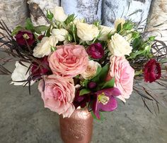 cool vancouver florist When coral pinks meets burgundy and rose-gold ! Designed by @do_thine_own_thing #rosegoldmasonjar #flower #roses #ranunculus #hellebore #rosegold #arrangement by @gardenpartyflowers  #vancouverflorist #vancouverflorist #vancouverwedding #vancouverweddingdosanddonts