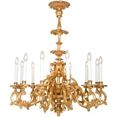 Baroque Style Twelve-Light Giltwood Chandelier | From a unique collection of antique and modern chandeliers and pendants at https://www.1stdibs.com/furniture/lighting/chandeliers-pendant-lights/