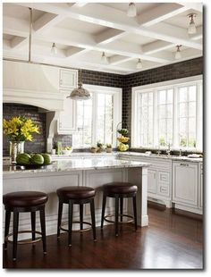 Kitchen Trends That Are Here to Stay Coffered ceilings, custom wood hood, lighting, black subway tiles all the way to ceiling to contrast with white cabinets & c-topsContrast Contrast or The Contrast may refer to: All White Kitchen, New Kitchen, Kitchen Layout, Kitchen Modern, Desk Layout, Timeless Kitchen, Ranch Kitchen, Happy Kitchen, Family Kitchen