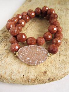 Druzy Bracelet Drusy Quartz Sparkling Gold Sandstone by julianneblumlo