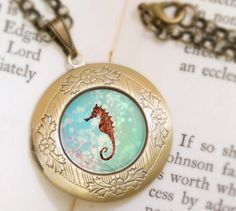 Seahorse Locket  Bronze Necklace  Wearable Art with by feverbloom, $32.00