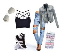 """""""Untitled #86"""" by chox154 ❤ liked on Polyvore featuring mode, Boohoo, adidas, LE3NO, Casetify et Ray-Ban"""
