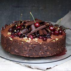 Recipe: Dark Chocolate Cherry Mousse Cake