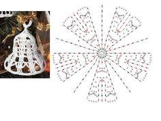 Crochet bell with chart Crochet Christmas Decorations, Crochet Decoration, Crochet Ornaments, Christmas Crochet Patterns, Crochet Snowflakes, Xmas Ornaments, Christmas Crafts, Crochet Diagram, Crochet Motif
