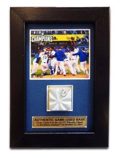 A small reminder of the season that was, this frame celebrates the Royals' ALCS clinch with a game-used base piece and commemorative photo. $34.99.