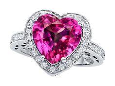 Original Star K(tm) Large 10mm Heart Shape Created Pink Sapphire Engagement Wedding Ring