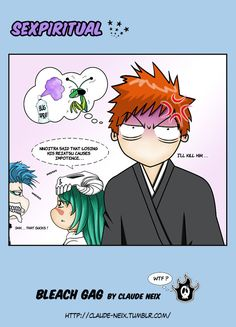 SEXPIRITUAL - Grimmjow Jaggerjack Nel and Ichigo Kurosaki chibis - Bleach anime manga gag  / funny fanart -  http://cristina-rodriguez.deviantart.com/