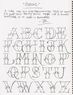 Lettering with a little flare. For taking notes, journaling and journaling ideas. Tattoo Lettering Fonts, Hand Lettering Alphabet, Doodle Lettering, Graffiti Alphabet, Creative Lettering, Lettering Styles, Graffiti Lettering, Calligraphy Letters, Lettering Guide