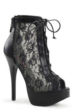 2e6375835e55 Black Lace Sides Platform Ankle Booties Faux Leather Lace Ankle Boots