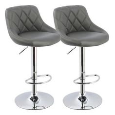 Worldwide Homefurnishings 23 in. Adjustable Swivel Faux Leather and Chrome Bar Stool in Grey (Set of 2)-203-769GY - The Home Depot