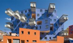 Balconies with Schoeck Isokorb thermal break module.  Virtually eliminates heat transfer between balconies and interior of buildings.