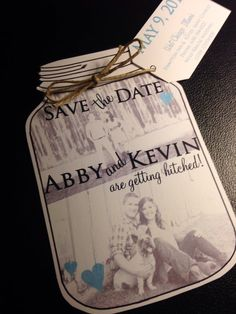 Mason Jar save the dates Wedding Save the Date by JaxDesigns27