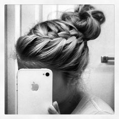 French braid  messy bun!#Repin By:Pinterest++ for iPad#