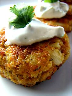 Crab cakes with cilantro & lime dip - looks great and no mayo in the recipe.