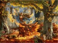 Autumn Fairy a fairy birthday card by Ruth Sanderson from Leanin' Tree. An autumn fairy dancing among the fallen autumnal leaves. Woodland Fairy, Forest Fairy, Deep Forest, Fairy Wallpaper, Wiccan Wallpaper, Wallpaper Art, Fairies Photos, Autumn Fairy, Autumn Witch