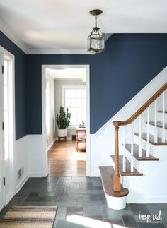 - Stairway Designs & Ideas - A look at my newly painted entryway. Color: Farrow and Ball Stiffkey Blue A look at my newly painted entryway. Color: Farrow and Ball Stiffkey Blue Hallway Colours, Room Colors, Entryway Paint Colors, Stiffkey Blue, White Hallway, Blue Hallway Paint, Dark Blue Hallway, Navy Walls, White Walls