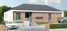 A modern house in L shape. L Shape, Arches, Modern Architecture, Garage Doors, Shed, Outdoor Structures, Outdoor Decor, House, Home Decor