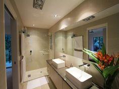 Classic bathroom design with twin basins using frameless glass - Bathroom Photo 386857